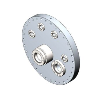 Flange mounting DN350CF for all single pocket HCL e-Guns