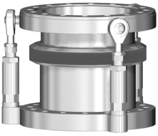 Port aligner with DN150CF flanges and inner diameter 153mm. L = 96 - 116mm